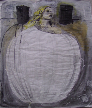 Girl and Speakers, acrylic and charcoal on paper, 40 by 37 in. Emilia Kallock 2004