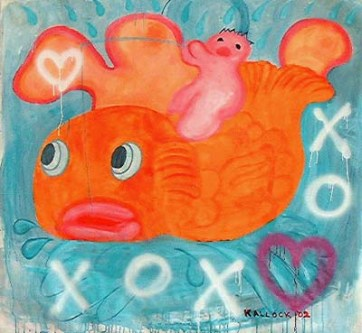 Gold Fish, acrylic and spray paint on canvas, 49 by 58 in. Emilia Kallock 2002