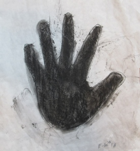 Hand, charcoal on paper, 8 by 8 in. Emilia Kallock 2013