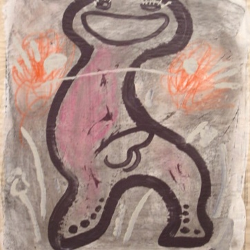 Happy Man (Purple), housepaint on primed newsprint, 24 by 20 in. Emilia Kallock 2002