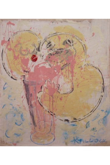 Happy Man with Sunday, housepaint on primed newsprint, 24 by 20 in. Emilia Kallock 2002