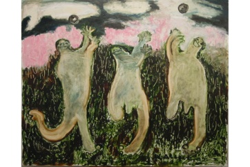 Happy Men Playing Ball, oil on board, 15 by 23 in. Emilia Kallock 2003
