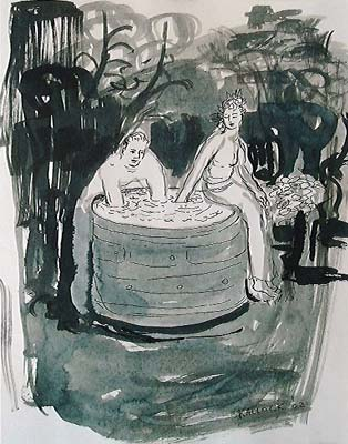 Hot Tub in Woods, watercolor on paper, 12 by 9 in. Emilia Kallock 2002