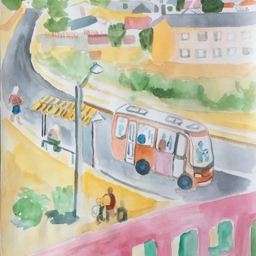 Belloto Bus Stop, Chile, watercolor on paper, 11 by 9 in. Emilia Kallock 2017