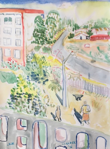 Chile, Belloto 3, watercolor on paper, 11 by 9 in. Emilia Kallock 20