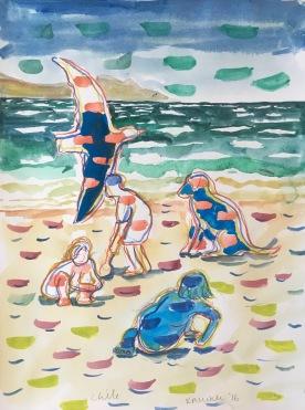 Chile, Guanaqueros, watercolor on paper, 11 by 9 in. Emilia Kallock 2017