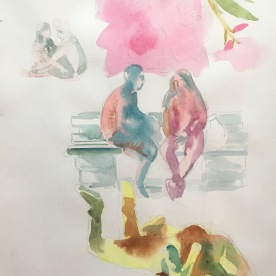 Chile, Plaza Study, watercolor on paper, 11 by 9in. Emilia Kallock 2017
