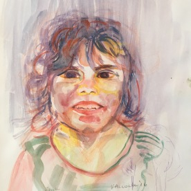 Portrait of a Girl 2, Chile, watercolor on paper, 11 by 9 in. Emilia Kallock 2017