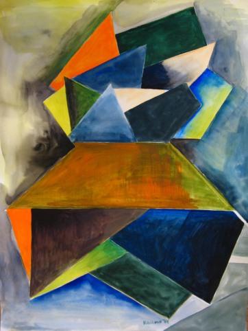 Ketcikan, Alaska Abstract 3, watercolor on paper, 24 by 18 in. Emilia Kallock 2009