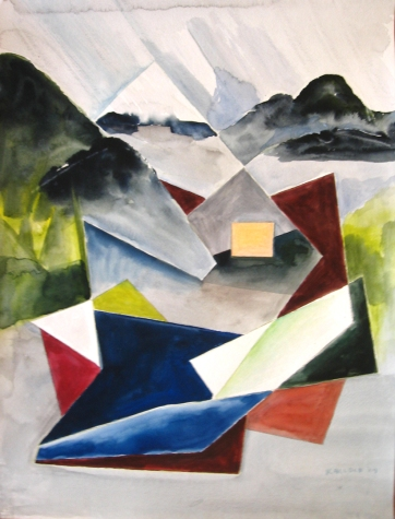 Ketchikan, Alaska Abstract 1, watercolor on paper, 24 by 18 in. Emilia Kallock 2009
