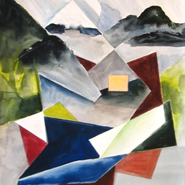 Ketchikan, Alaska Abstract 1, watercolor on paper, 24 by 18 in. Emilia Kallock 2009