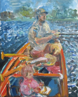 Jake and Sage in Canoe, oil on canvas, 10 by 8 in. Emilia Kallock 2014
