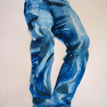 Jeans, Simple, watercolor on paper, 24 by 18 in. Emilia Kallock 2009
