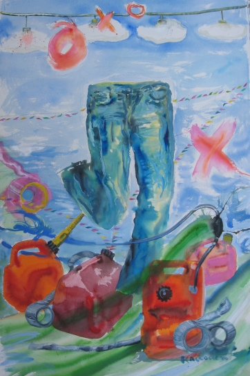 Jeans and Gas Cans, watercolor on paper, 56 by 40 in. Emilia Kallock 2006