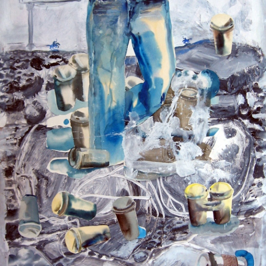 Jeans and Lattes in Landscape, watercolor and acrylic on paper, 52 by 48 in. Emilia Kallock 2006