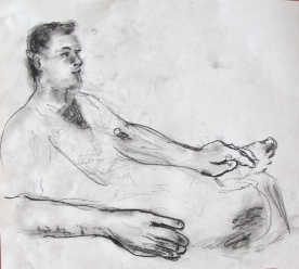 Jimmy Reclining, 8 by 8 in, charcoal on paper, Emilia Kallock 2013
