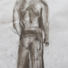Jimmy, Back, charcoal on paper, 8 by 7 in. Emilia Kallock 2013