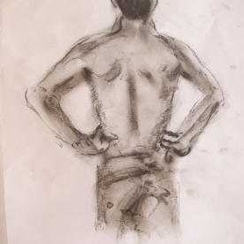 Jimmy's Back, charcoal on paper, 8 by 7 in. Emilia Kallock 2013