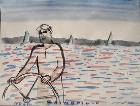 Josh Sailing, watercolor on paper, 18 by 26 in. Emilia Kallock 2008