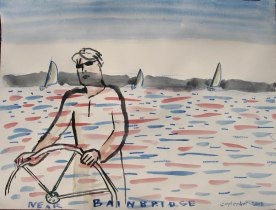 Josh Sailing, watercolor on paper, 18 by 26 in. Emilia Kallock 2008