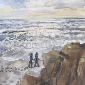 Kalaloch Beach, watercolor on paper, 12 by 8 in. Emilia Kallock 2014