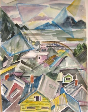 Ketchikan, Alaska 6, watercolor on paper, 12 by 10 in. Emilia Kallock 2009