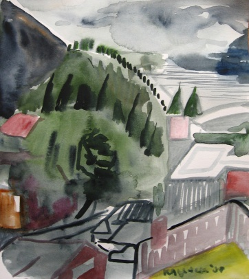 Ketchikan Alaska 1, watercolor on paper, 10 by 10 in. Emilia Kallock 2009