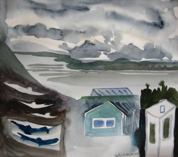 Ketchikan, Alaska 2, watercolor on paper, 6 by 7 in. Emilia Kallock 2009