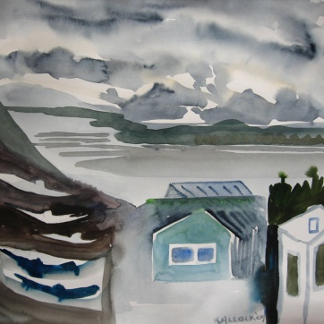 Ketchikan, Alaska 2, watercolor on paper, 6 by 7 in. Emilia Kallock 2009