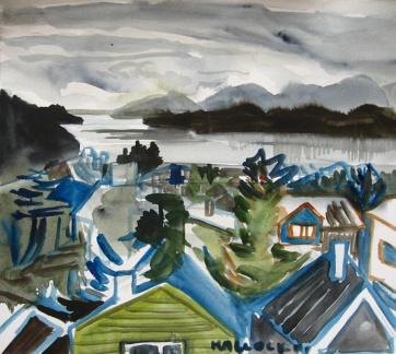 Ketchkian, Alaska 3, watercolor on paper, 8 by 8 in. Emilia Kallock