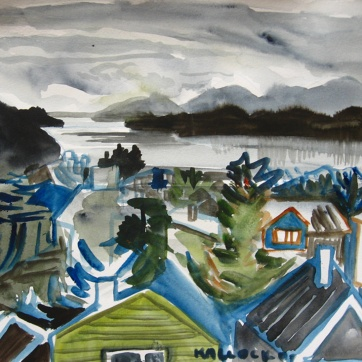 Ketchkian, Alaska 3, watercolor on paper, 8 by 8 in. Emilia Kallock