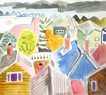 Ketchikan, Alaska 4, watercolor on paper, 10 by 12 in. Emilia Kallock 2009