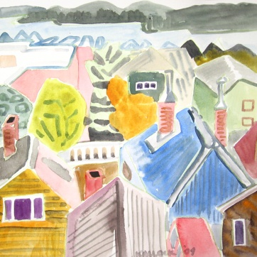 Ketchikan, Alaska 4, watercolor on paper, 10 by 12 in. Emilia Kallock 2009
