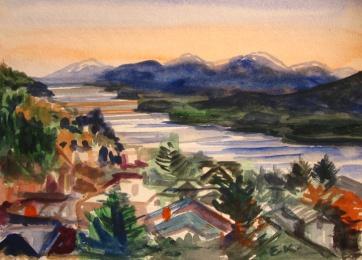 Ketchikan, Alaska 5, watercolor on paper,8 by 8 in. Emilia Kallock 2009