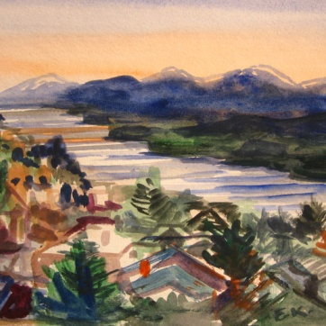 Ketchikan, Alaska 5, watercolor on paper,8 by 8 in. Emilia Kallock 2009