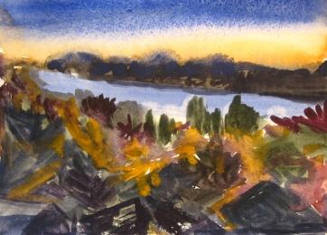 Ketchikan, Alaska 7, watercolor on paper, 8 by 8 in. Emilia Kallock 2009