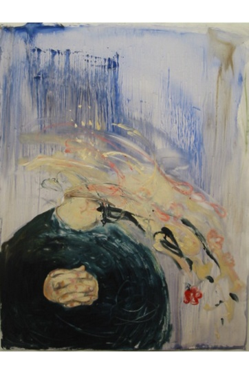 Thought, oil on primed paper, 49 by 34 in. Emilia Kallock 2002