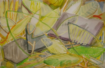 Leaves and Stones, watercolor and paper, 8 by 10 in. Emilia Kallock 2009