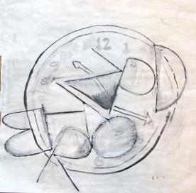 Letters and Time Sketch, acrylic and charcoal on paper, 14 by 14 in. Emilia Kallock 2013
