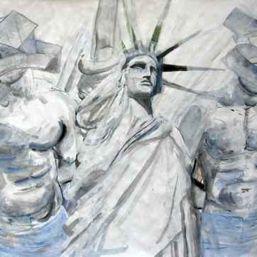 Liberty Boys, acrylic on paper, 50 by 60 in. Emilia Kallock 2008