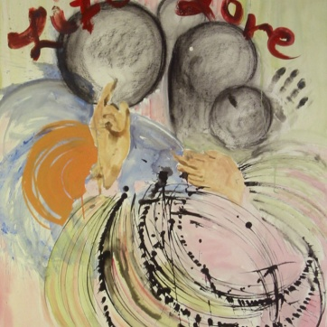 Life and Lore, acrylic, ink and charcoal on paper, 40 by 32 in. Emilia Kallock 2004