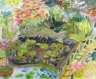 Lily Pond 1, watercolor on paper, 10 by 12 in. Emilia Kallock 2012