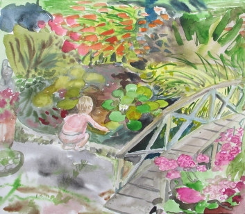 Lily Pond 3, watercolor on paper, 8 by 10 in, Emilia Kallock 2012