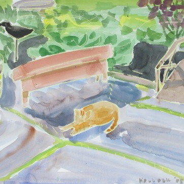 Lilypond, Cat and Bench 2, watercolor and pastel on paper, 18 by 24 in. Emilia Kallock 2008