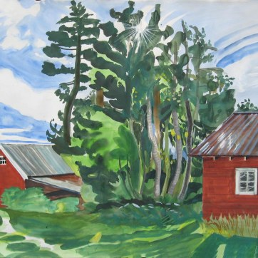 Logen Barn, watercolor and gouache on paper, 36 by 42 in. Emilia Kallock 2008