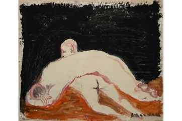 Lounging 1, housepaint on primed newsprint, 20 by 26 in. Emilia Kallock 2002