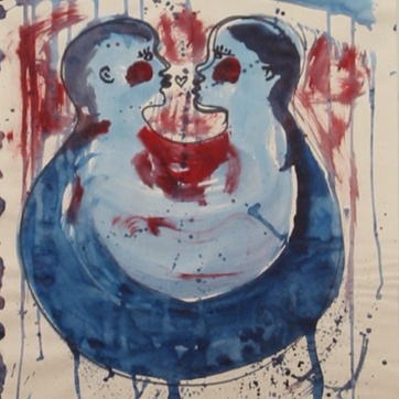 Lovie 1, acrylic on paper, 24 by 18 in. Emilia Kallock 2002