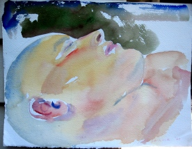 M Profile 2, watercolor on paper, 8 by 13 in. Emilia Kallock 2008