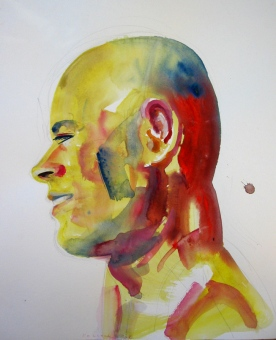 M Profile, watercolor on paper, 14 by 11 in. Emilia Kallock 2008