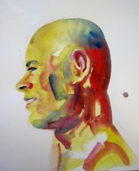 M Profile, watercolor on paper, 14 by 11 in. Emilia Kallock 2008